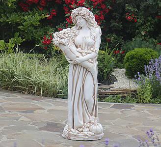 Садовая фигура Богиня Изобилия ССП00005-Н статуя скульптура для сада девушка с рогом изобилия