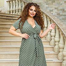 """Літнє плаття-максі в горошок """"Каміла"""" з імітацією запаху (великі розміри), фото 2"""