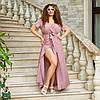 """Літнє плаття-максі в горошок """"Каміла"""" з імітацією запаху (великі розміри), фото 3"""