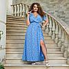 """Літнє плаття-максі в горошок """"Каміла"""" з імітацією запаху (великі розміри), фото 6"""