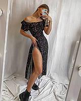 Платье женское длинное с разрезом от бедра, летнее платье без рукав Черное платье