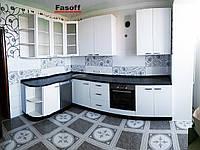 Черно белая кухня на заказ МДФ крашеный глянец