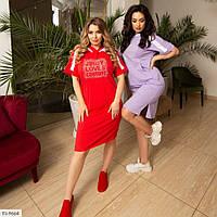 Спортивное платье женское стильное по колено с капюшоном и коротким рукавом большие размеры 48-58 арт. 4207, фото 1