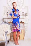 Женское Синее платье с принтом