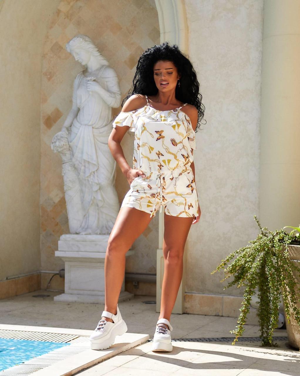 Женский летний комбинезон с шортами Софт Размер 42 44 46 48 50 52 В наличии 2 цвета