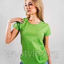 Футболка женская однотонная хлопковая - 61420-LM лайм