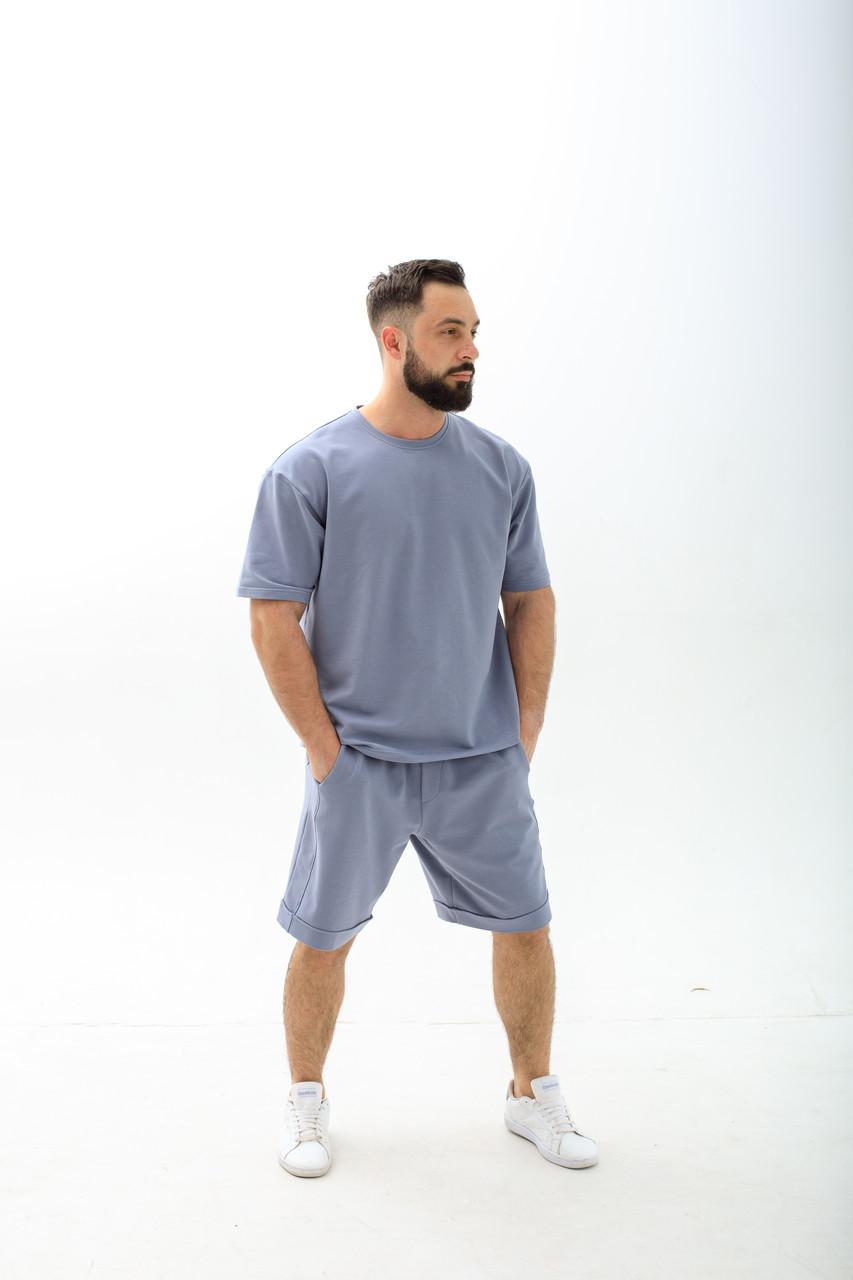 Мужской комплект (футболка + шорты) мужской. Стильный спортивный костюм мужской футболка шорты