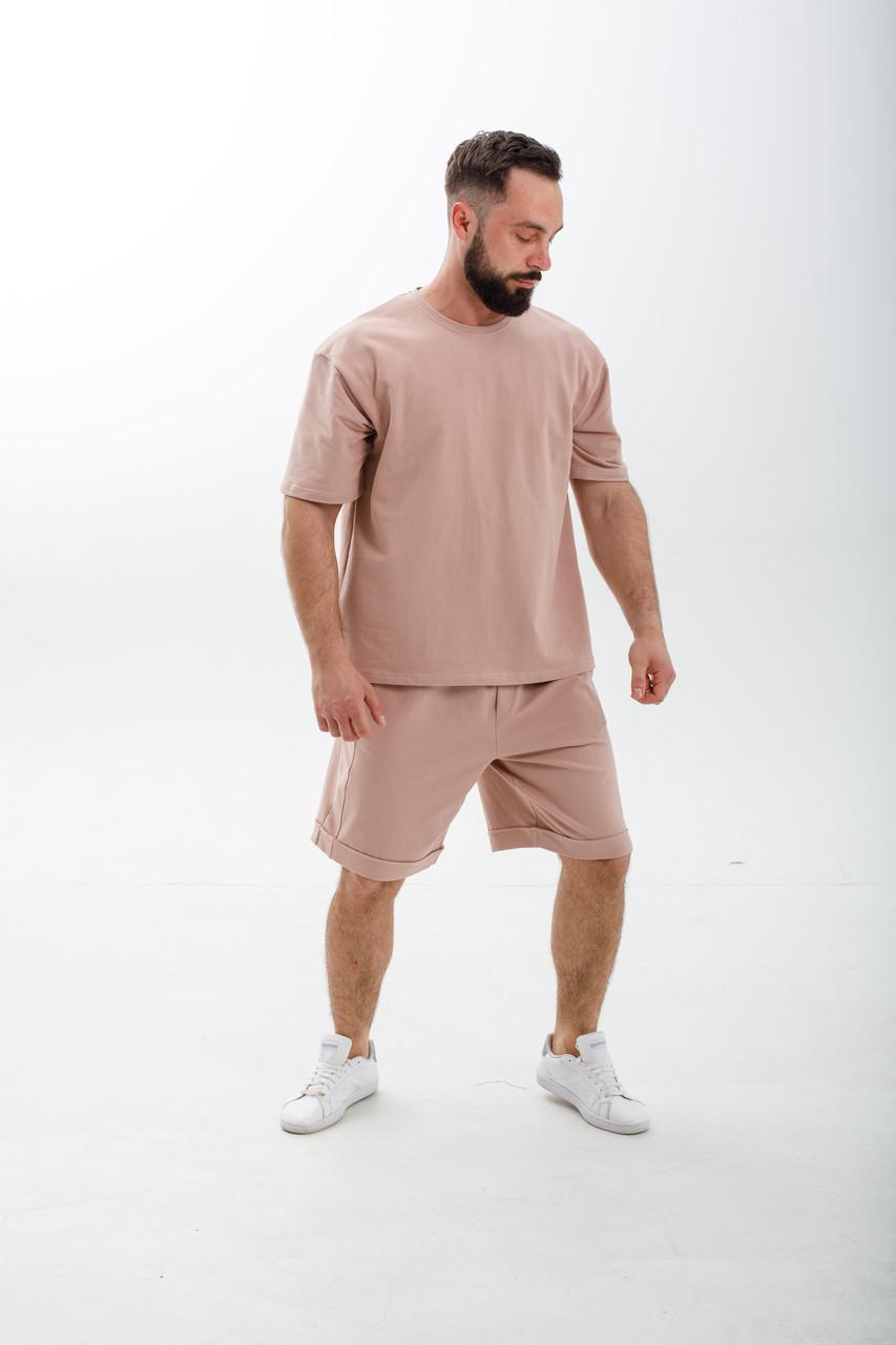 Мужской летний комплект футболка и шорты молодежный трикотажный стильный
