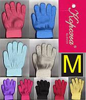 """Перчатки подростковые - детские с начёсом внутри двойные цветные """"Корона"""" размер M ПДЗ-40"""