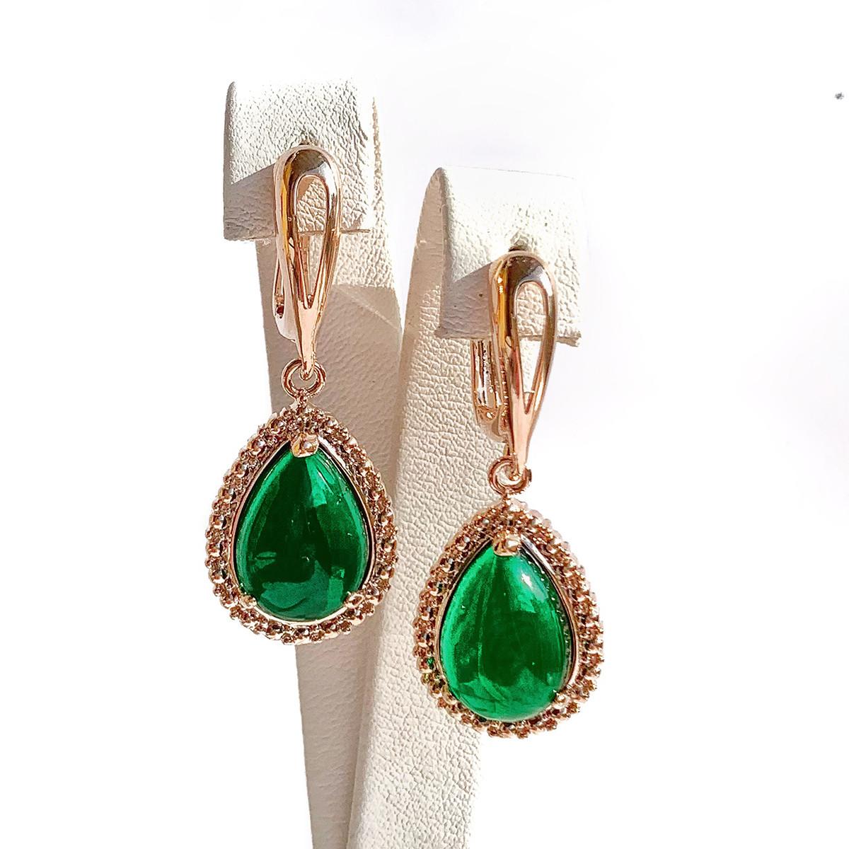 Сережки SONATA з медичного золота, зелені фіаніти, позолота PO, 23608