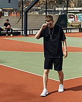 Мужской спортивный костюм оверсайз Лето шорты футболка оверсайз (Oversize) летний спортивный костюм черный