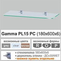 Стеклянная полка Сommus PL15 P (180х600х6мм) (прямоугольная прозрачная, бронза, графит), фото 1