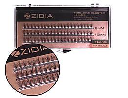 Вії накладні пучкові Полумя Zidia Cluster Lashes Flame Series C 0.10 Mix M (3 лєнти 9/10/11 мм)
