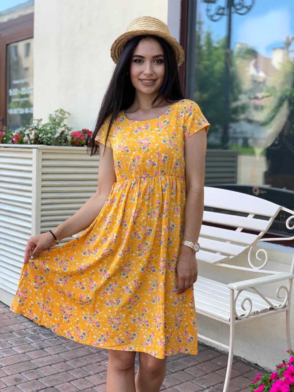 Женское летнее платье с коротким рукавом из штапеля