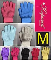 """Перчатки подростковые - детские с начёсом внутри двойные цветные """"Корона"""" размер M ПДЗ-1740"""