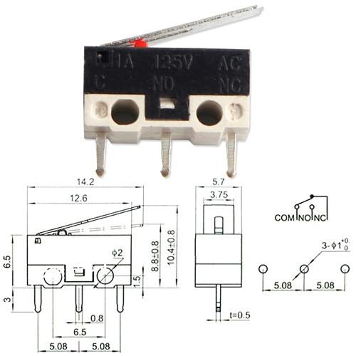 Концевой выключатель переключатель микро с флажком KW-1 1А