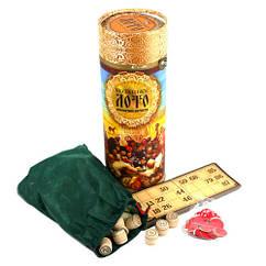 Настільна гра Козацьке лото з дерев'яними барильцями, в тубусі