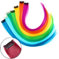 Кольорові пасма волосся на шпильки для нарощування волосся, 40см, 10шт