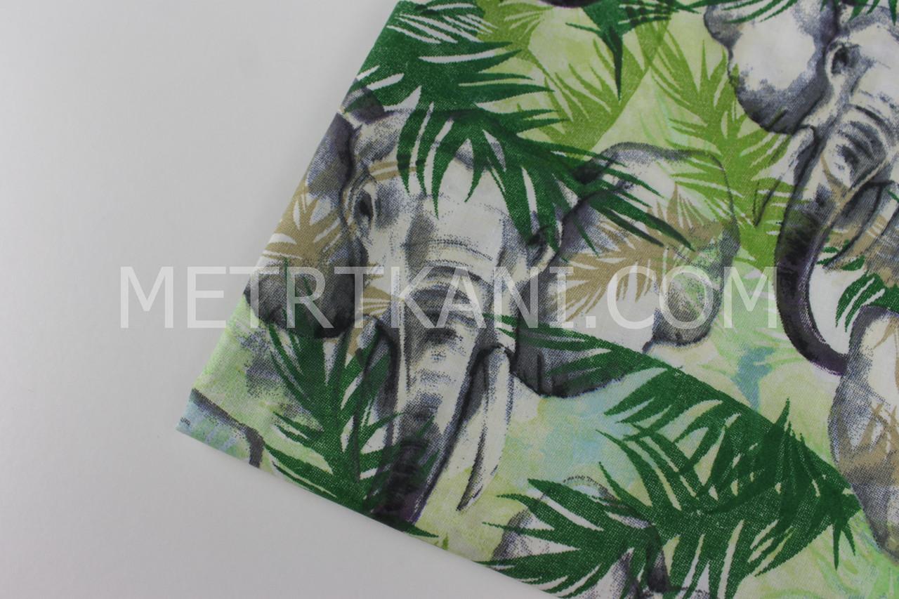 """Клаптик. Тканина бавовняна """"Слони в зеленому листі"""" , 25*160 см"""