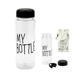 Пляшка My Пляшка 500мл пластик прозорий з дозатором, чохол