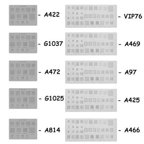 Набор из 10 BGA-трафаретов MTK, SC, MSM для Apple, Samsung, Xiaomi, Huawei