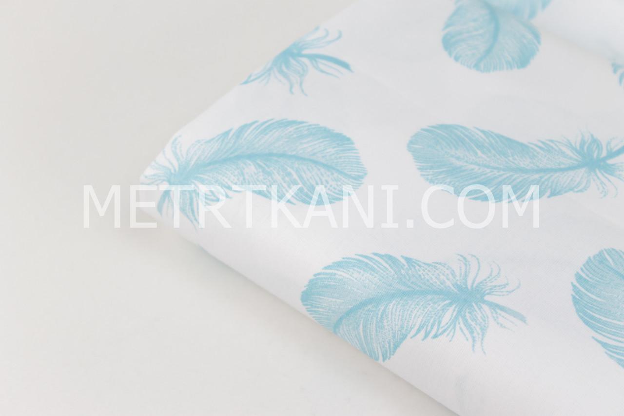 """Клаптик. Тканина бавовняна """"Пір'я"""" блакитного кольору на білому тлі, 44*160 см"""