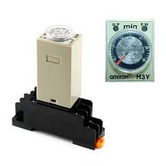 Реле часу, таймер Omron H3Y-2, 0-60хв 220В 5А на DIN-рейку