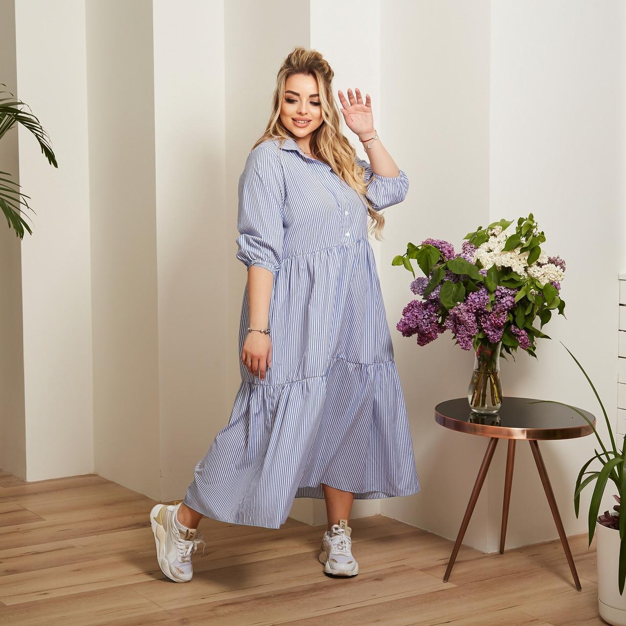 Женский коттоновое платье свободного стиля размер: 50-52,54-56,58-60,62-64