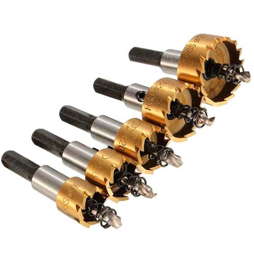 Набір з 5 коронок, корончатых свердел 16-30мм по металу HSS