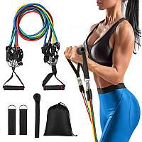 Многофункциональный набор трубчатых эспандеров для упражнений резинки для фитнеса комплект 5 штук с чехлом