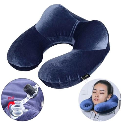 Надувна подушка дорожня U-подібна з підголовником, оксамит