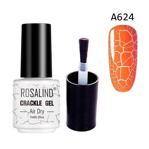 Гель-лак для ногтей маникюра 7мл Rosalind, кракелюр, А624 оранжевый