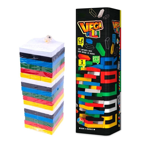 Настільна гра Дженга Вежа Jenga Vega Color Джанга GVC-01U, 54 бруска