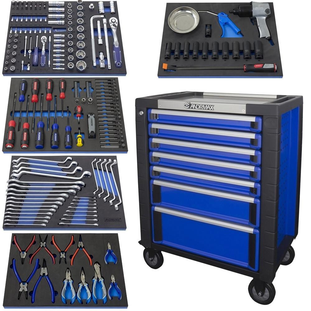 Тележка 7 полок с набором инструмента 230 предметов ANDRMAX