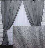 """Комплект (2шт. 1х2,5м.) готовых штор, коллекция """"Лен Мешковина"""". Цвет серый. Код 108ш 39-255"""