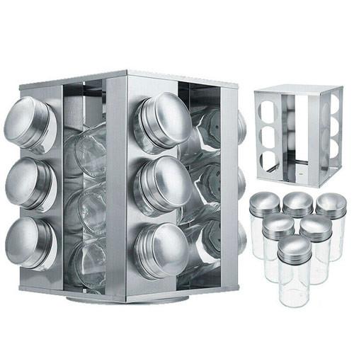 Підставка карусель для спецій 12 предметів, спецовница квадратна, сталь