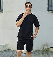 Мужской летний комплект футболка шорты черный Турция. Живое фото (летний костюм мужской)