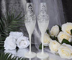 Свадебные бокалы для молодоженов ручной работы с узором белого цвета
