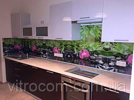 Кухонний скляний фартух орхідеї