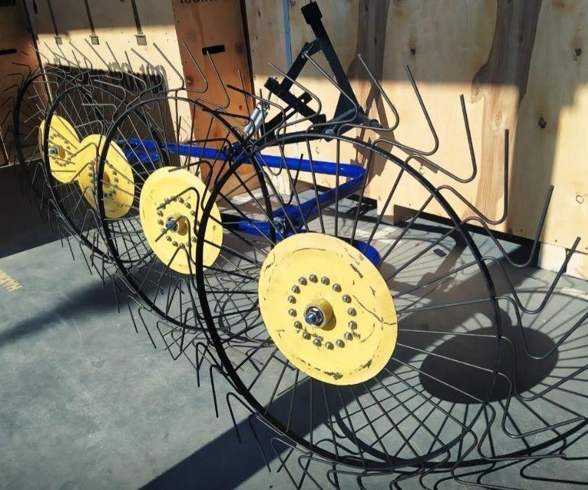 Грабли на минитрактор 4-колесные ворошилки Солнышко