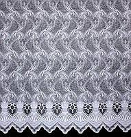 Отрез (2,3х1,2м.) ткани. Тюль жаккард. Цвет белый. Код 728ту 00-578