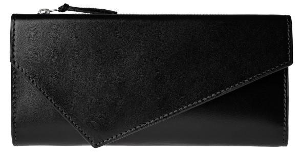 Женский кошелек Grande Pelle из натуральной кожи, черное портмоне для купюр, карточек и монет, глянцевое