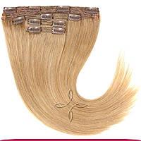 Натуральные европейские волосы на клипсах 40 см 120 грамм, Русый светлый №18