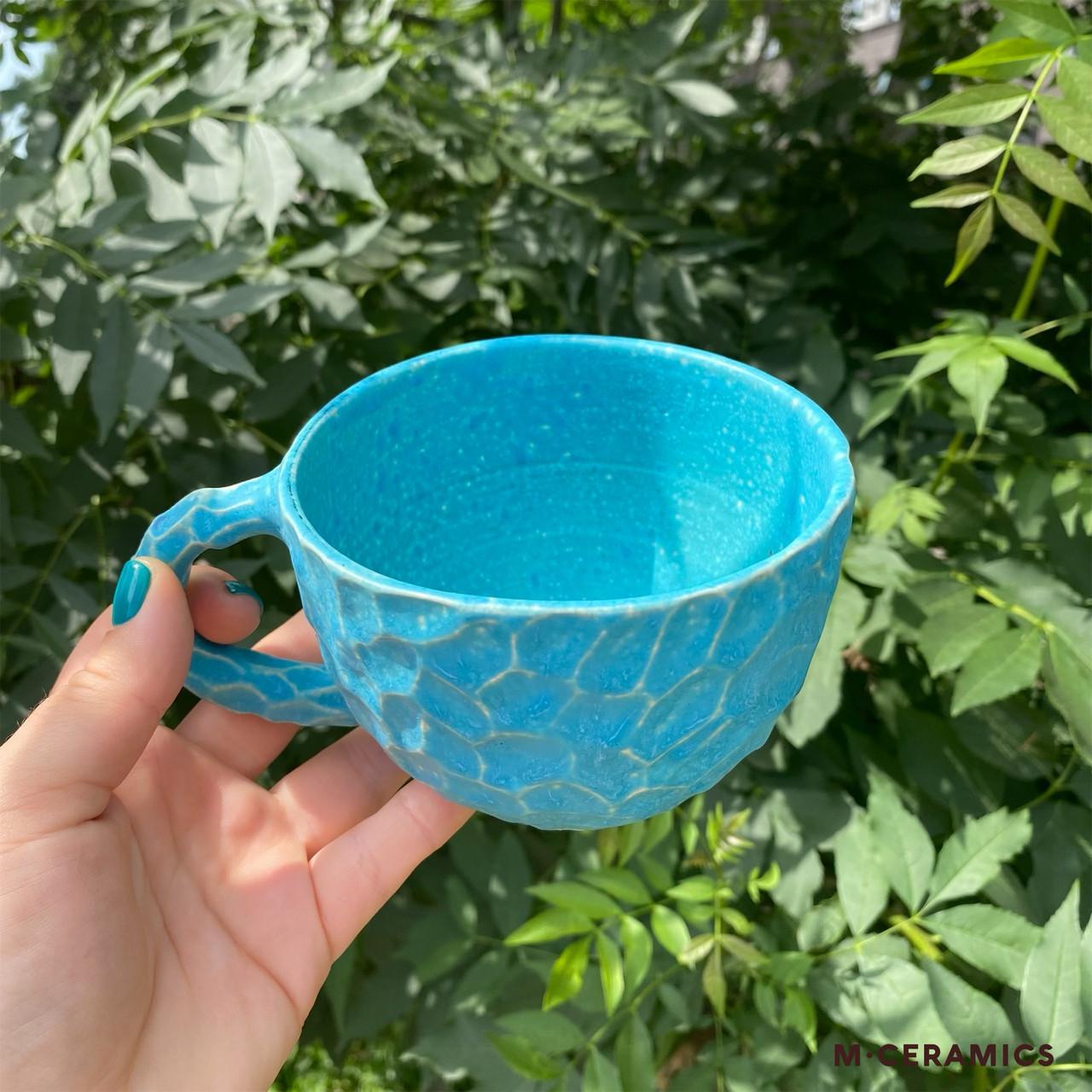 Чашка керамічна ручної роботи Блакитна