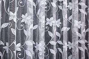 Отрез (2,3х2,7м) ткани. Тюль жаккард с галстуком, цвет белый. Код 715ту 00-576