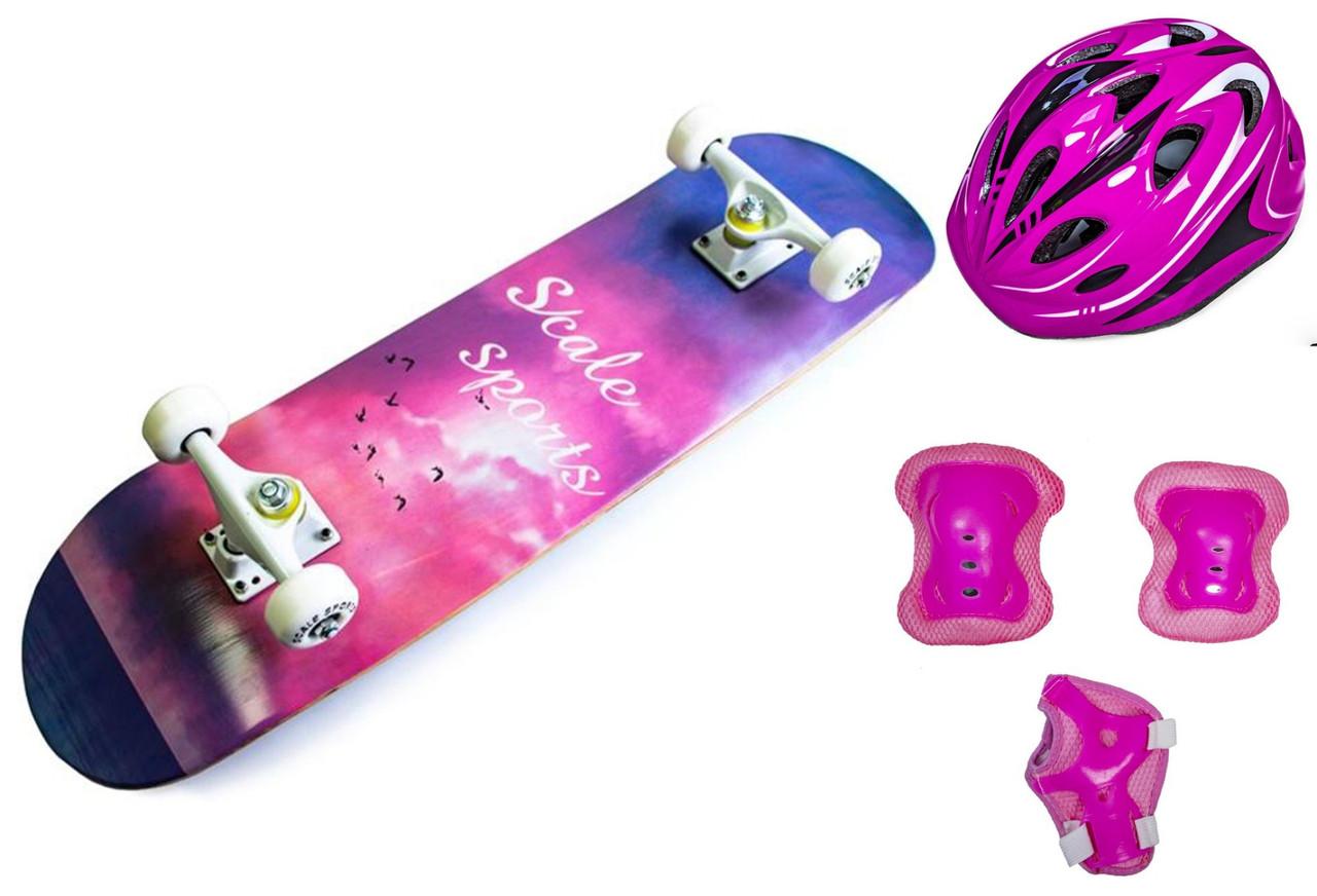+ Шолом + Захист + Скейтборд дерев'яний Scale Sports Blue-pink sky