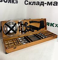 """Набор шампуров в деревянном кейсе """"Гурман""""."""