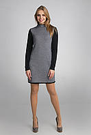 Классическое черно-белое вязаное платье.