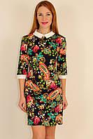 Трикотажное платье с белым воротничком 44,46,48 р