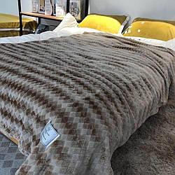 Плед покривало Ромбик Koloco 210х230 см Мікрофібра в сумці (Коричневий з сірим)